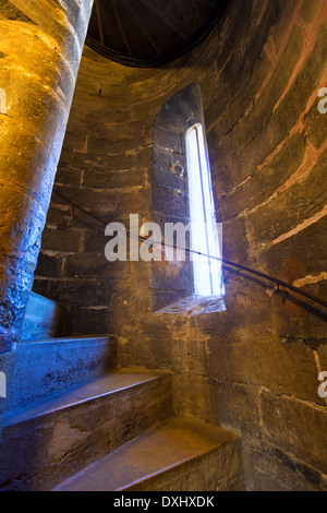 Valencia Miguelete Micalet indoor tower stairs stairway to belfry at Spain - Stock Photo