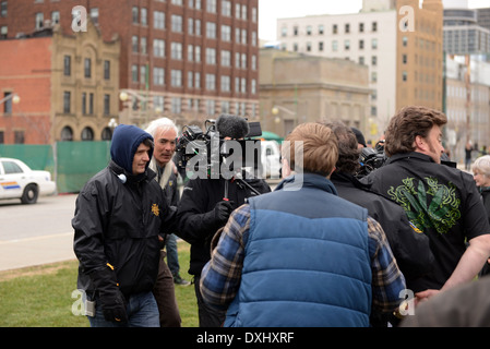 Mike Clattenburg, L, director of popular Trailer Park Boys show directs Mike Smith, C, and Robb Wells, R,  in scene - Stock Photo