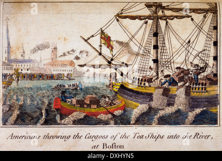 Americans throwing the cargoes of the Tea Ships into the river at Boston, Boston tea party - Stock Photo