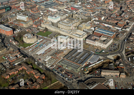 aerial view of Bolton including the town centre, bus station, markets and Town Hall - Stock Photo