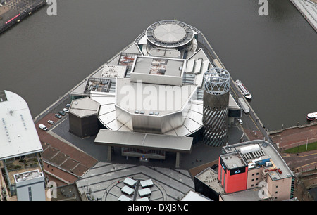 aerial view of The Lowry Centre auditorium theatre in Salford Quays, Manchester - Stock Photo