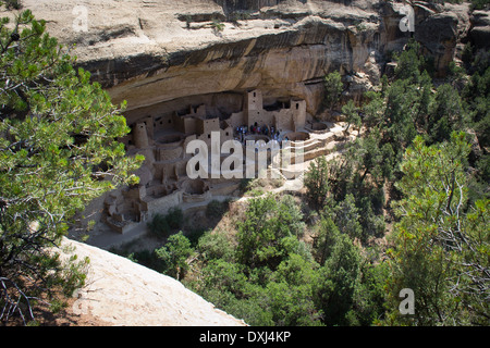 mesa verde national park,,colorado,USA-august 8,2012:people visit the historic site of cliff palace at mesa verde - Stock Photo