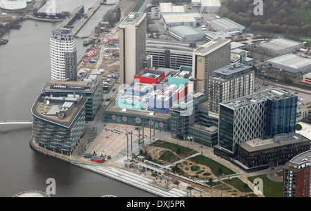 aerial view of Media City television studios in Salford Quays near Manchester - Stock Photo