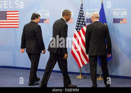Brussels, Belgium. 26th March 2014. President of the European Commission Jose Manuel Durao Barroso, US President - Stock Photo