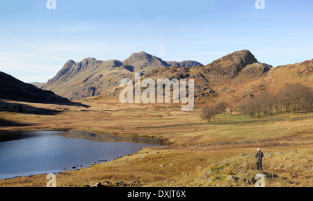 From Blea Tarn, the view of Langdale Fell and Pikes, barren mountains in the Lake District of England.