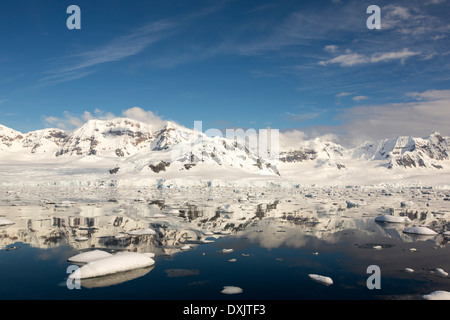 The Gerlache Strait separating the Palmer Archipelago from the Antarctic Peninsular off Anvers Island. - Stock Photo