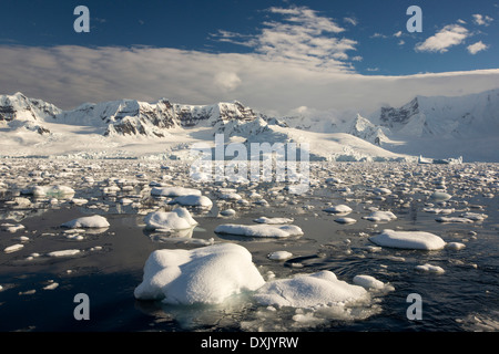 The Gerlache Strait separating the Palmer Archipelago from the Antarctic Peninsular off Anvers Island - Stock Photo