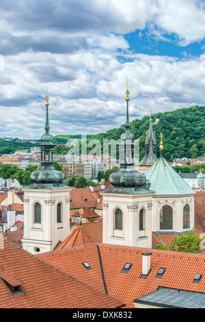Towers and rooftops, Prague, Central Bohemia, Czech Republic - Stock Photo