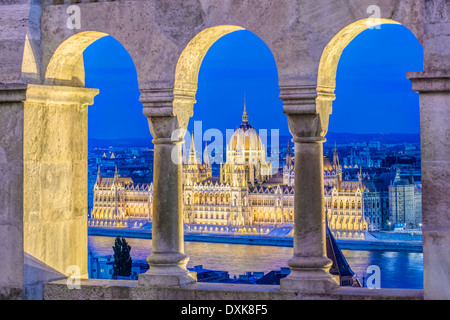 View of Parliament Building illuminated at dusk, Budapest, Hungary - Stock Photo