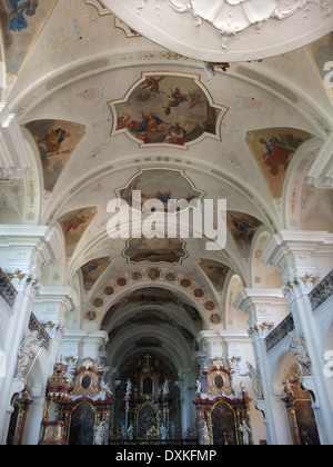 inside the decorative Abbey of Saint Peter in the Black Forest - Stock Photo