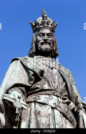 Charles IV, Holy Roman Emperor, and Czech King beloved, Knights of the Cross Square, near Charles Bridge, Prague, - Stock Photo