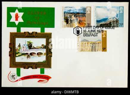 1971 First Day Cover celebrating Ulster Paintings, postmarked in Belfast. - Stock Photo