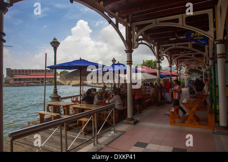 Mauritius island, Port Louis, Caudan Waterfront, restaurant. - Stock Photo