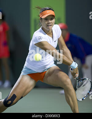 Key Biscayne, Florida, USA. 26th Mar, 2014. LI NA of China during her 7-5, 7-5 quarter final win over C. Wazniacki - Stock Photo