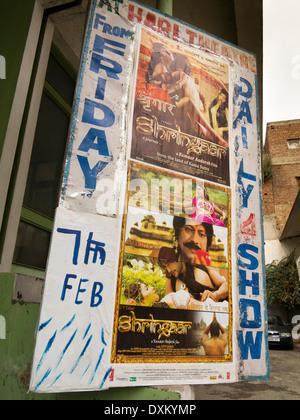 India, Jammu and Kashmir, Jammu, Raghndath Bazaar, Hari Theatre cinema, film posters on display
