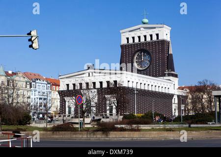 Church of the Most Sacred Heart of Our Lord (1931) by Josip Plecnik at Namesti Jiriho Z Podebrad square, Prague - Stock Photo