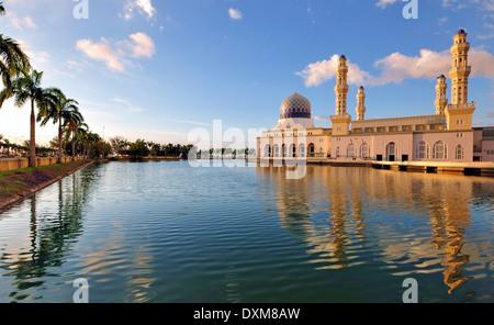 Kota Kinabalu Floating Mosque Day Time Image With Reflection - Stock Photo