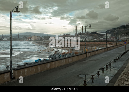 Naples (Italy) - Coroglio, the road bridge connecting the mainland with Nisida island - Stock Photo