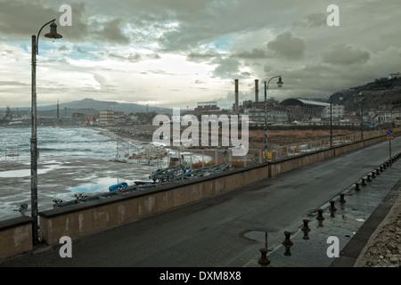 Naples (Italy) - Coroglio, the road bridge connecting the mainland with Nisida island