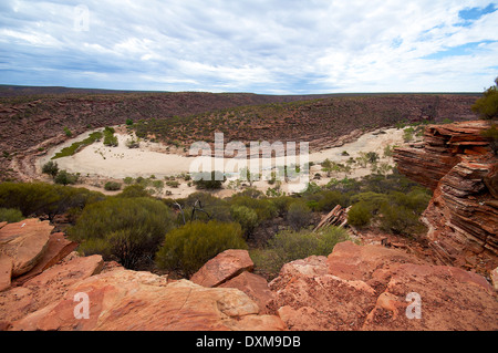 Panoramic view of dry river bed in Kalbarri National Park - Stock Photo