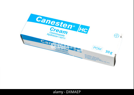 Canesten cream (Clotrimazole Hydrocortisone) used in the treatment of skin infections caused by several types of - Stock Photo