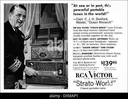 1950s advertisement for RCA Victor portable radio advert in American magazine circa 1954 - Stock Photo