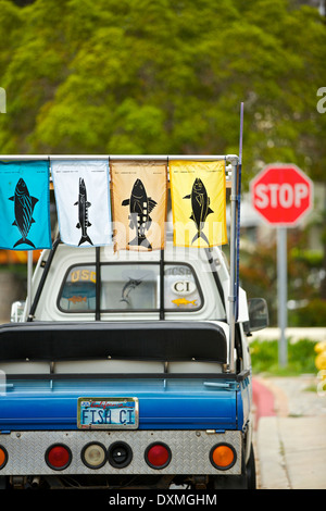 Quirky PickUp Truck With Fish Pennants Flying Parked In Avalon - Avalon truck