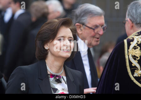 Westminster London, UK. 27th March 2014. Cherie Blair QC wife of former British Prime Minister Tony Blair as one - Stock Photo
