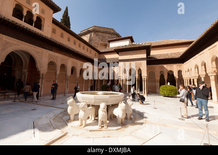 Tourists looking at the lion fountain, Patio de los Leones ( Court of the Lions ), Nasrid Palaces, Alhambra Palace - Stock Photo