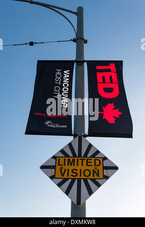 'Ted talks' TedTalks Conference, street banners and 'Limited Vision' sign, Granville Street Bridge, Vancouver, British - Stock Photo