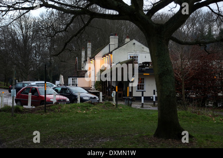Hampshire England Southampton Exterior Of The Cowherds Pub With Lights On And Car Park - Stock Photo