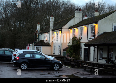 Hampshire England Southampton Exterior Of The Cowherds Pub With Lights On - Stock Photo