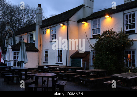 Hampshire England Southapton Exterior Of The Cowherds Pub With Lights On - Stock Photo
