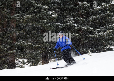 Mike Vining downhill skiing Clear Cut Run Copper Mountain Colorado USA - Stock Photo