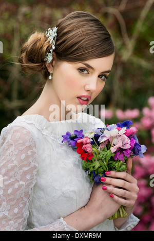 Young bride on her wedding day - Stock Photo