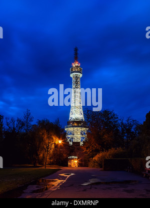 Prague Lookout Tower on Petrin hill with the night illumination - Stock Photo