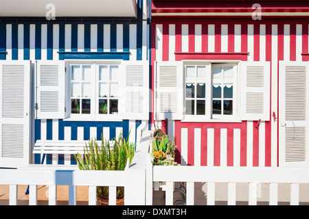Palheiros, Typical colorful houses, Costa Nova, Aveiro, Beira, Portugal - Stock Photo