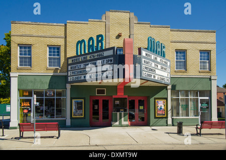 The historic Mar Theater, which opened in 1937, is still in operation in Wilmington, Illinois, a town along Route - Stock Photo