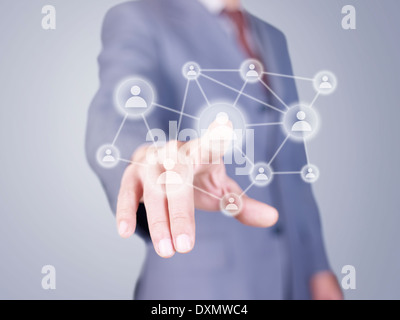 hand pressing virtual buttons - Stock Photo