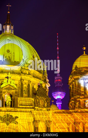 Fernsehturm Television Tower and the Berliner Dom lit up During the Festival of Lights, Berlin, Germany - Stock Photo