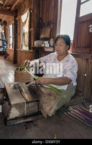 Woman pulling fibres from lotus stalks, Inle Lake, Myanmar - Stock Photo