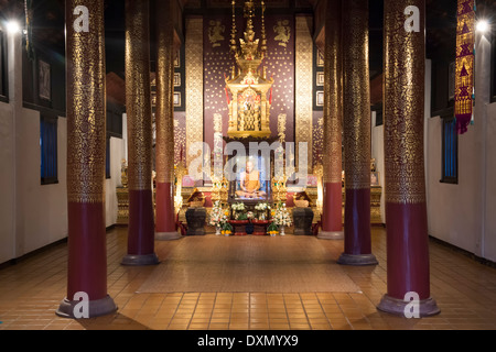 Life-like statue of revered Monk, Wat Chedi Luang, Chiang Mai, Thailand - Stock Photo