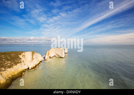 The cliffs and rock stacks of Old Harry Rocks on the Jurassic Coast of Dorset, England - Stock Photo