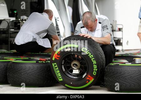 Motorsports: FIA Formula One World Championship 2014, Grand Prix of Malaysia,   Pirelli, tire, tires, tyre, tyres, - Stock Photo