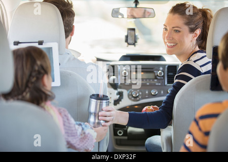 Family inside car - Stock Photo