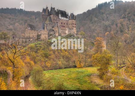 Eltz Castle in Autumn, Rheinland-Pfalz, Germany - Stock Photo