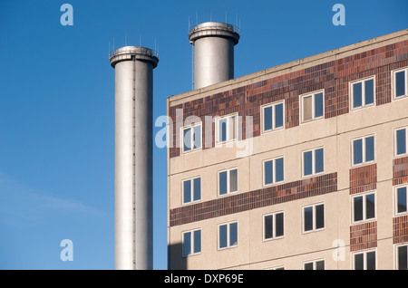 Berlin, Germany, chimneys of thermal power station Berlin-Mitte behind a plate - Stock Photo