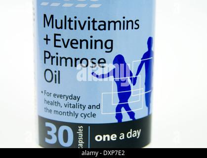 Multivitamins and Evening primrose oil capsules - Stock Photo