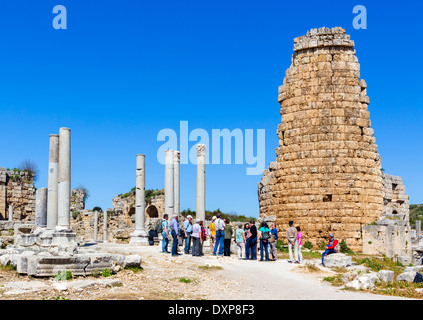 Area near the Hellenistic Gate in the ruins of the ancient Greek city of Perge, Pamphylia, Antalya Province, Turkey - Stock Photo