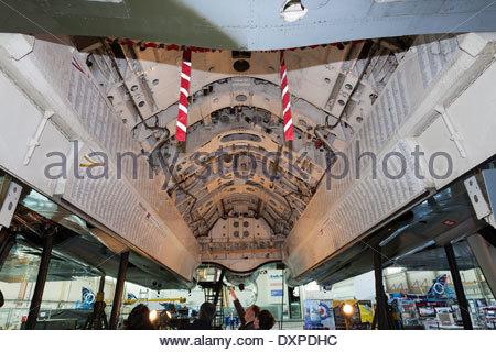Bomb bay. Vulcan XH558 in its hangar during maintenance overhaul . South Yorkshire England - Stock Photo